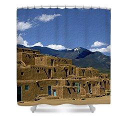 North Pueblo Taos Shower Curtain by Kurt Van Wagner
