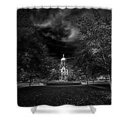 Notre Dame University Black White Shower Curtain by David Haskett