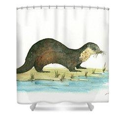 Otter Shower Curtain by Juan Bosco