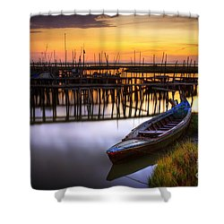Palaffite Port Shower Curtain by Carlos Caetano