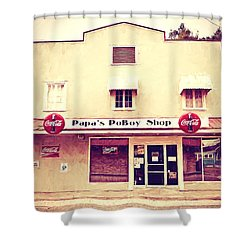 Papa's Poboy Shop Shower Curtain by Scott Pellegrin