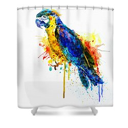 Parrot Watercolor  Shower Curtain by Marian Voicu