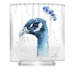 Peacock Watercolor Shower Curtain by Olga Shvartsur