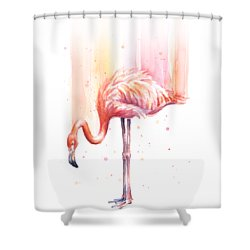 Pink Flamingo - Facing Right Shower Curtain by Olga Shvartsur
