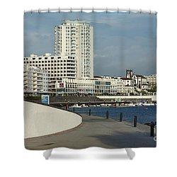 Ponta Delgada Waterfront Shower Curtain by Gaspar Avila