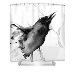 Raven Shower Curtain by Suren Nersisyan