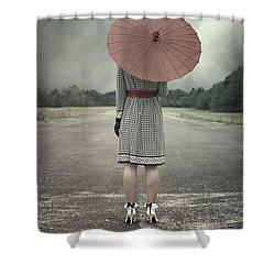 Red Umbrella Shower Curtain by Joana Kruse