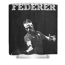 Roger Federer Shower Curtain by Semih Yurdabak