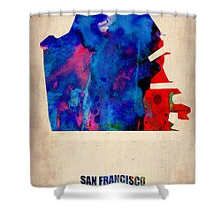 San Francisco Watercolor Map Shower Curtain by Naxart Studio
