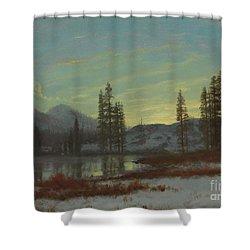 Snow In The Rockies Shower Curtain by Albert Bierstadt