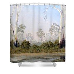 Still Creek Shower Curtain by John Cocoris