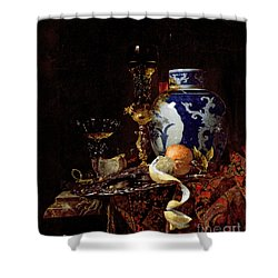 Still Life With A Chinese Porcelain Jar Shower Curtain by Willem Kalf