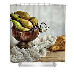 Still-life With Pears Shower Curtain by Nailia Schwarz