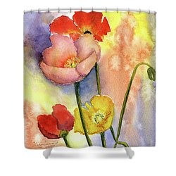 Summer Poppies Shower Curtain by Vickey Swenson