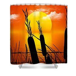 Sunset Lake Shower Curtain by Robert Orinski