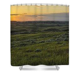 Sunset Over Killdeer Badlands Shower Curtain by Robert Postma