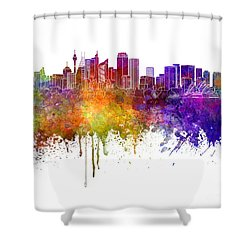 Sydney V2 Skyline In Watercolor Background Shower Curtain by Pablo Romero