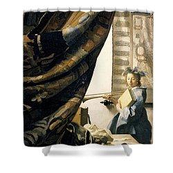 The Artist's Studio Shower Curtain by Jan Vermeer