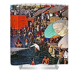 The Bathing Ghats Shower Curtain by Steve Harrington