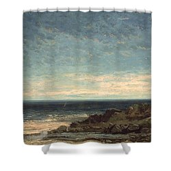 The Sea Shower Curtain by Gustave Courbet