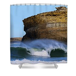 Shower Curtain featuring the photograph The Wave by Thierry Bouriat
