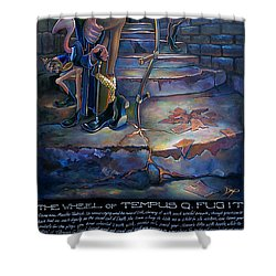 The Wheel Of Tempus Q. Fugit Shower Curtain by Patrick Anthony Pierson
