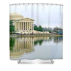 Tidal Basin With Cherry Blossoms Shower Curtain by Jack Schultz