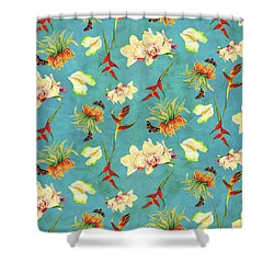 Tropical Island Floral Half Drop Pattern Shower Curtain by Audrey Jeanne Roberts