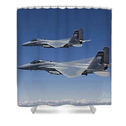 Two F-15 Eagles Conduct Air-to-air Shower Curtain by HIGH-G Productions