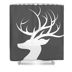 White Deer Silhouette Shower Curtain by Chastity Hoff