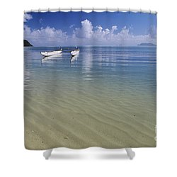 White Double Hull Canoe Shower Curtain by Joss - Printscapes