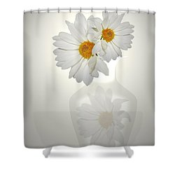 White On White Daisies Shower Curtain by Joyce Dickens