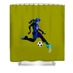 Womens Girls Soccer Collection Shower Curtain by Marvin Blaine