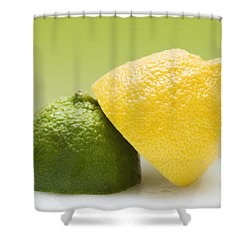 12 Organic Lemon And 12 Lime Shower Curtain by Marlene Ford