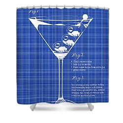 1897 Dirty Martini Blueprint Shower Curtain by Jon Neidert