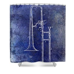 1902 Trombone Patent Blue Shower Curtain by Jon Neidert