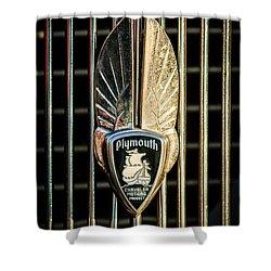 1934 Plymouth Emblem Shower Curtain by Jill Reger