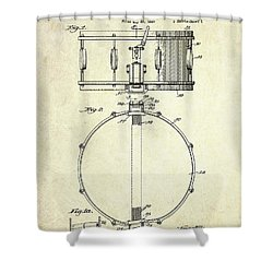 1939 Slingerland Snare Drum Patent S1 Shower Curtain by Gary Bodnar