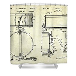 1939 Slingerland Snare Drum Patent Sheets Shower Curtain by Gary Bodnar
