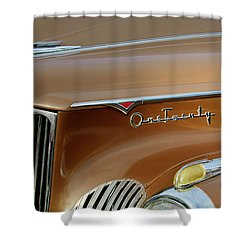 1941 Packard Hood Ornament 2  Shower Curtain by Jill Reger