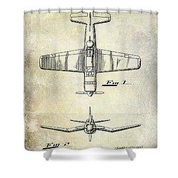 1946 Airplane Patent Shower Curtain by Jon Neidert