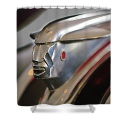 1948 Pontiac Streamliner Woody Wagon Hood Ornament 2 Shower Curtain by Jill Reger