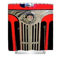 1949 Willys Jeepster Hood Ornament And Grille Shower Curtain by Jill Reger