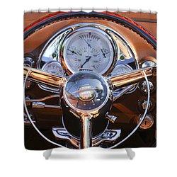 1950 Oldsmobile Rocket 88 Steering Wheel 2 Shower Curtain by Jill Reger