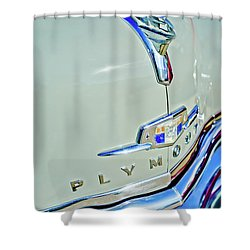 1950 Plymouth Coupe Hood Ornament Shower Curtain by Jill Reger