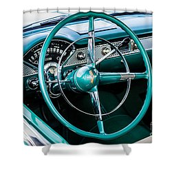 Shower Curtain featuring the photograph 1955 Chevrolet Bel Air by M G Whittingham