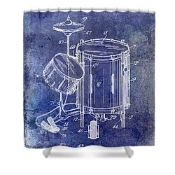 1951 Drum Kit Patent Blue Shower Curtain by Jon Neidert