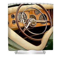 1952 Sterling Gladwin Maverick Sportster Steering Wheel Shower Curtain by Jill Reger
