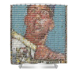 1952 Topps Mickey Mantle Rookie Card Mosaic Shower Curtain by Paul Van Scott