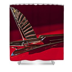 1954 Ford Cresline Sunliner Hood Ornament Shower Curtain by Jill Reger